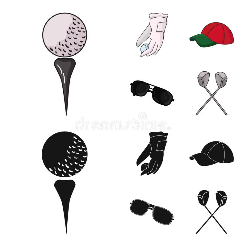 A glove for playing golf with a ball, a red cap, sunglasses, two clubs. Golf Club set collection icons in cartoon,black. Style vector symbol stock illustration royalty free illustration
