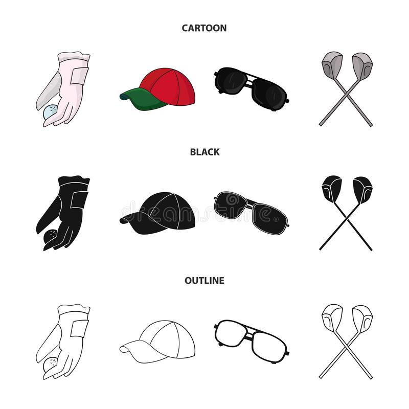 A glove for playing golf with a ball, a red cap, sunglasses, two clubs. Golf Club set collection icons in cartoon,black. Outline style vector symbol stock vector illustration