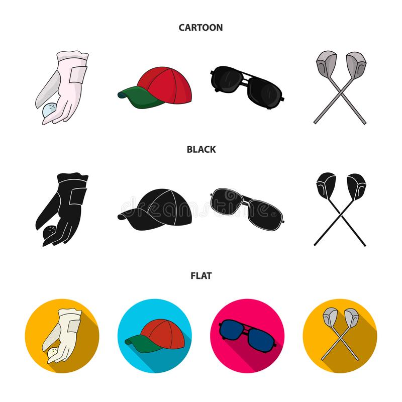 A glove for playing golf with a ball, a red cap, sunglasses, two clubs. Golf Club set collection icons in cartoon,black. Flat style vector symbol stock royalty free illustration