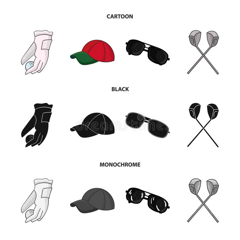 A glove for playing golf with a ball, a red cap, sunglasses, two clubs. Golf Club set collection icons in cartoon,black. Monochrome style vector symbol stock vector illustration