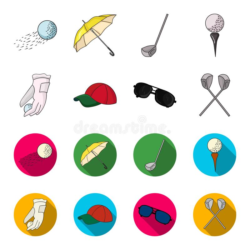 A glove for playing golf with a ball, a red cap, sunglasses, two clubs. Golf Club set collection icons in cartoon,flat. Style vector symbol stock illustration vector illustration