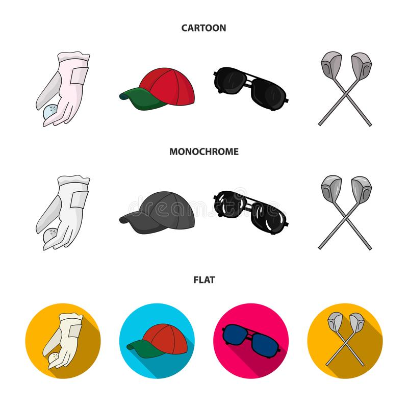 A glove for playing golf with a ball, a red cap, sunglasses, two clubs. Golf Club set collection icons in cartoon,flat. Monochrome style vector symbol stock vector illustration