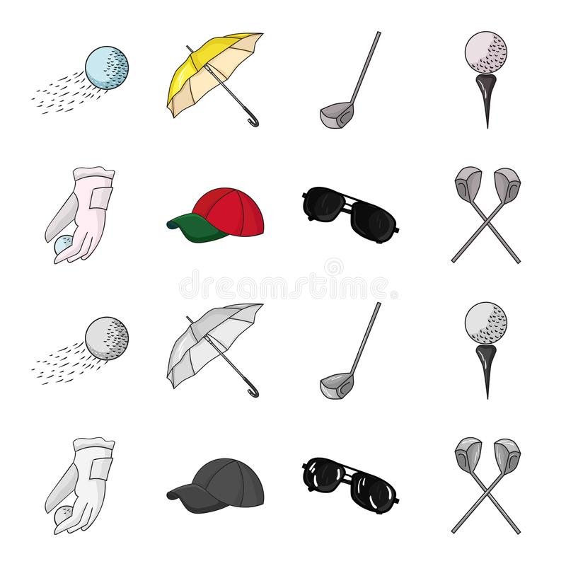 A glove for playing golf with a ball, a red cap, sunglasses, two clubs. Golf Club set collection icons in cartoon. Monochrome style vector symbol stock stock illustration