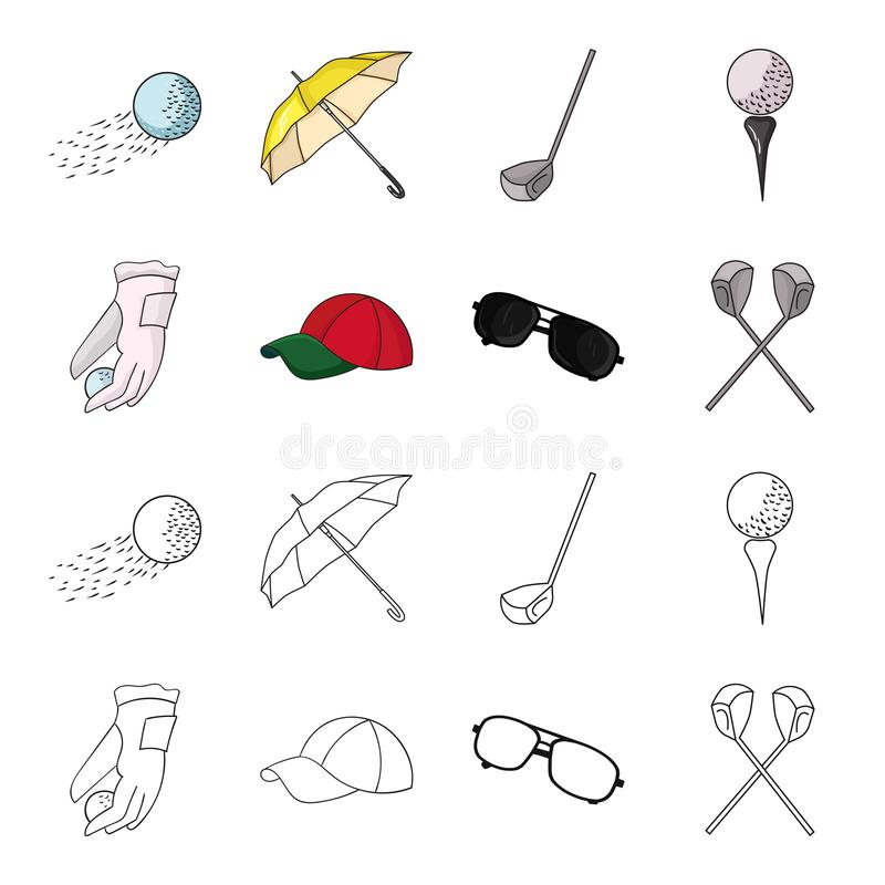 A glove for playing golf with a ball, a red cap, sunglasses, two clubs. Golf Club set collection icons in cartoon. Outline style vector symbol stock stock illustration
