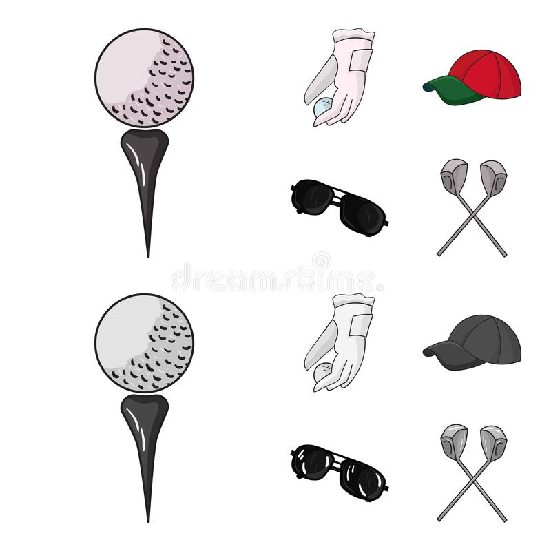 A glove for playing golf with a ball, a red cap, sunglasses, two clubs. Golf Club set collection icons in cartoon. Monochrome style vector symbol stock vector illustration