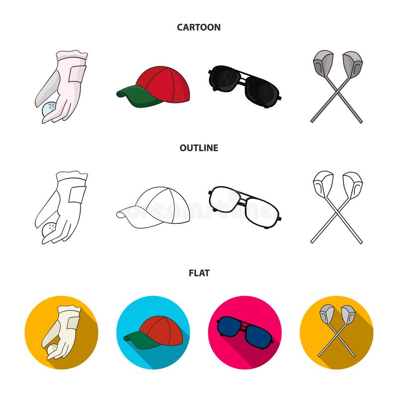 A glove for playing golf with a ball, a red cap, sunglasses, two clubs. Golf Club set collection icons in cartoon. Outline,flat style vector symbol stock royalty free illustration