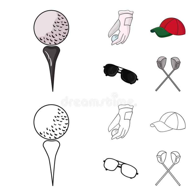 A glove for playing golf with a ball, a red cap, sunglasses, two clubs. Golf Club set collection icons in cartoon. Outline style vector symbol stock royalty free illustration