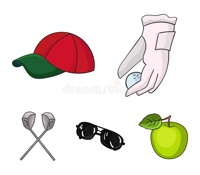 A glove for playing golf with a ball, a red cap, sunglasses, two clubs. Golf Club set collection icons in cartoon style. Vector symbol stock illustration vector illustration