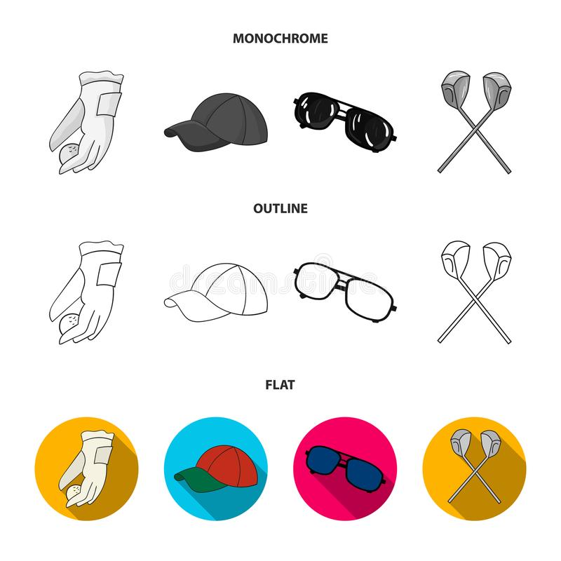 A glove for playing golf with a ball, a red cap, sunglasses, two clubs. Golf Club set collection icons in flat,outline. Monochrome style vector symbol stock vector illustration