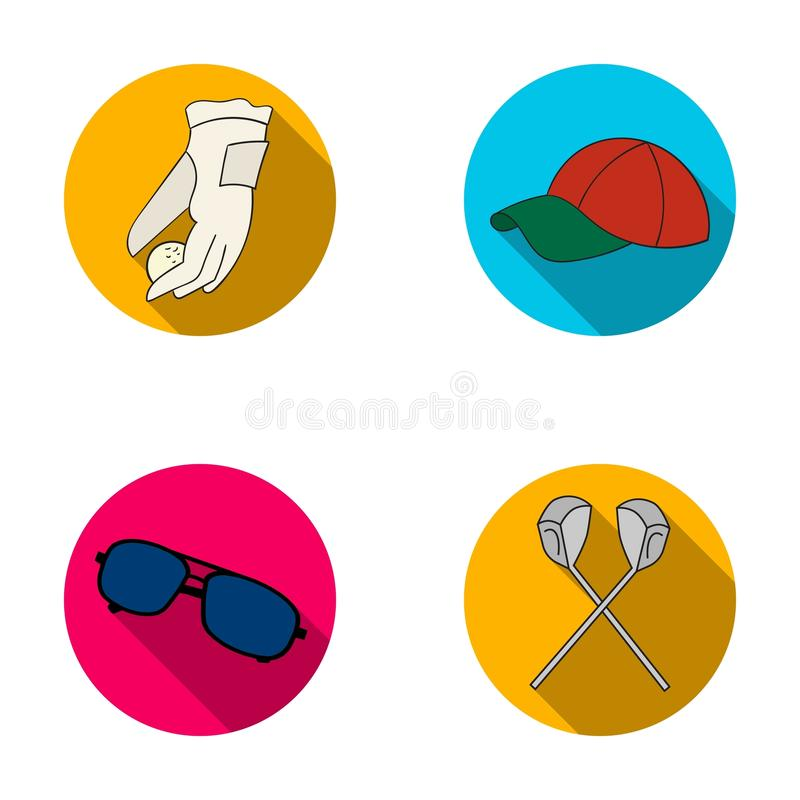 A glove for playing golf with a ball, a red cap, sunglasses, two clubs. Golf Club set collection icons in flat style. Vector symbol stock illustration stock illustration