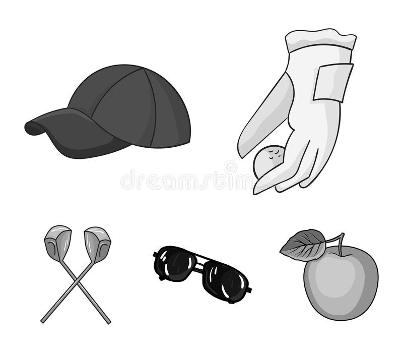 A glove for playing golf with a ball, a red cap, sunglasses, two clubs. Golf Club set collection icons in monochrome. Style vector symbol stock illustration stock illustration