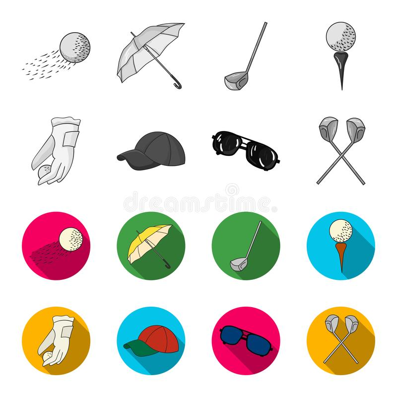 A glove for playing golf with a ball, a red cap, sunglasses, two clubs. Golf Club set collection icons in monochrome. Flat style vector symbol stock stock illustration