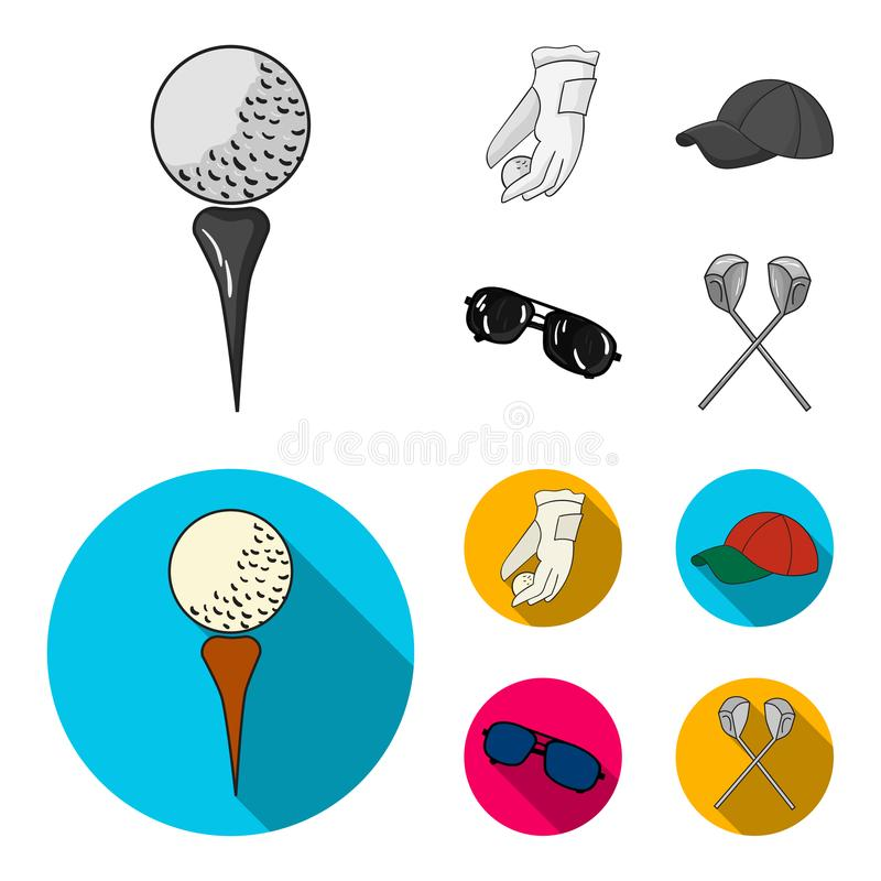 A glove for playing golf with a ball, a red cap, sunglasses, two clubs. Golf Club set collection icons in monochrome. Flat style vector symbol stock vector illustration