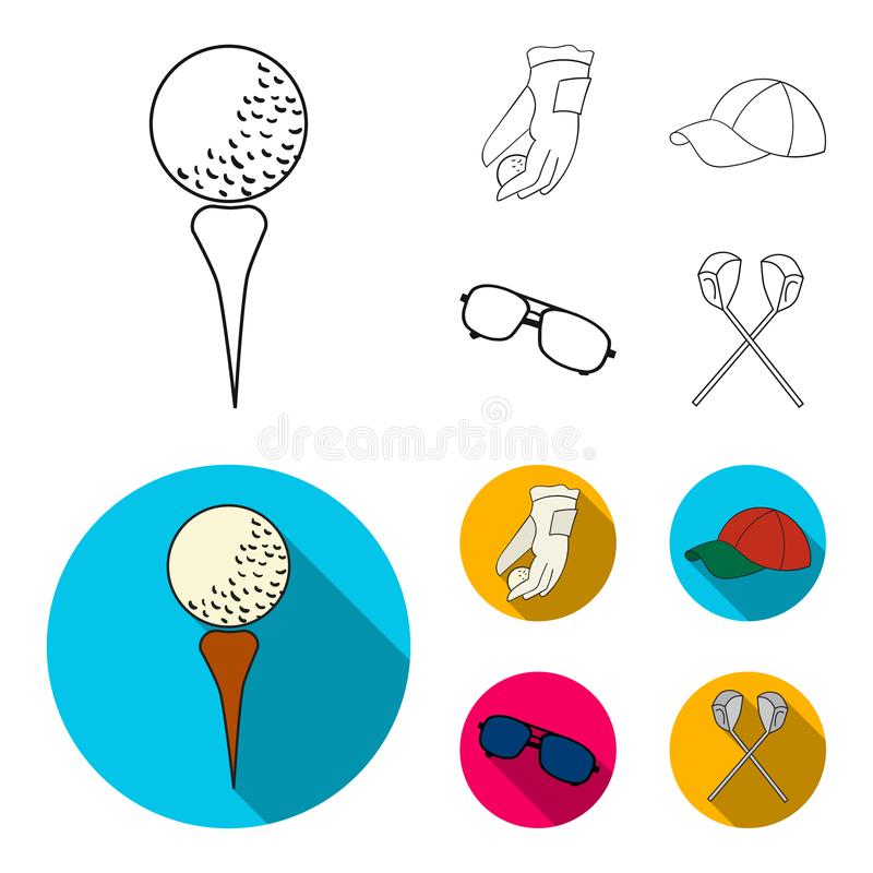 A glove for playing golf with a ball, a red cap, sunglasses, two clubs. Golf Club set collection icons in outline,flat. Style vector symbol stock illustration royalty free illustration
