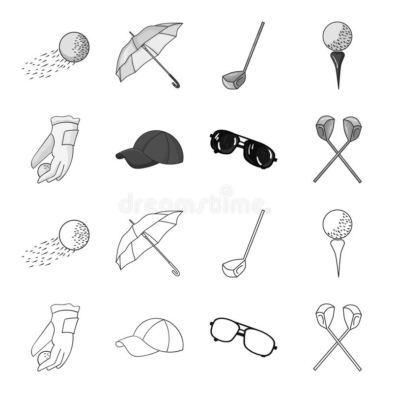A glove for playing golf with a ball, a red cap, sunglasses, two clubs. Golf Club set collection icons in outline. Monochrome style vector symbol stock vector illustration