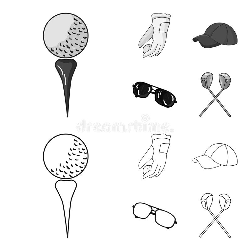 A glove for playing golf with a ball, a red cap, sunglasses, two clubs. Golf Club set collection icons in outline. Monochrome style vector symbol stock stock illustration