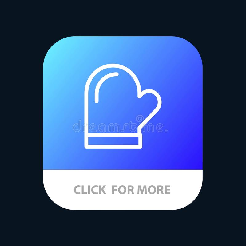 Glove, Potholder, Gloves, Kitchen, Oven Mobile App Button. Android and IOS Line Version royalty free illustration