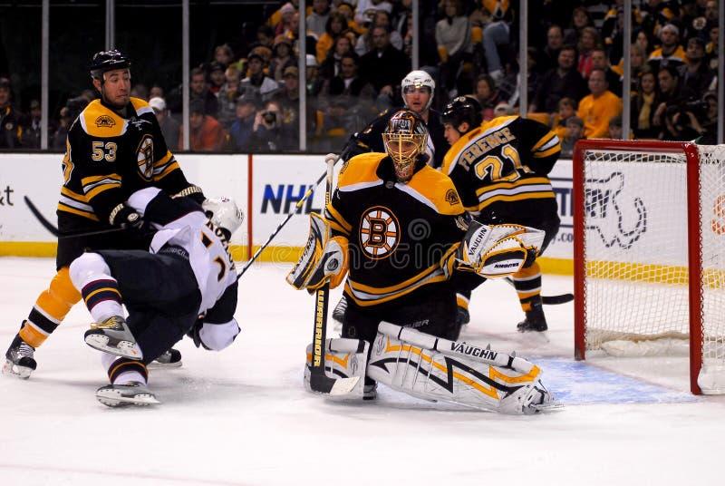 Glove Save. Tuukka Rask of the Boston Bruins makes a glove save stock photography