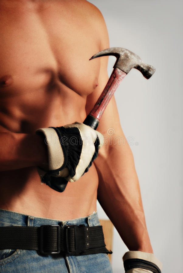 Gloved construction worker stock photo