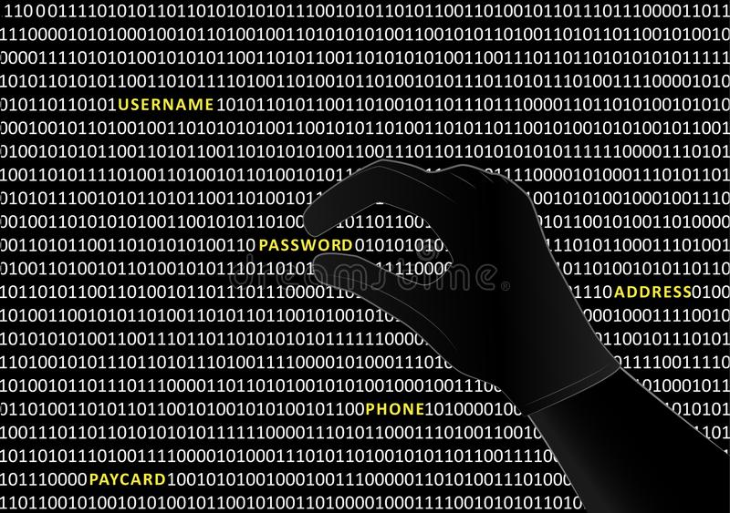 Gloved hacker hand takes the word password from binary code on black screen, horizontal vector illustration royalty free illustration