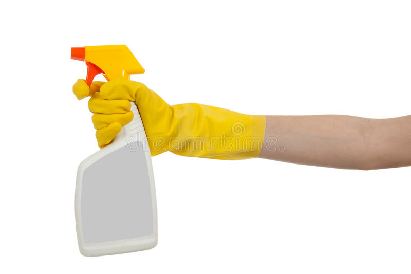 Gloved hand with spray bottle with copy space