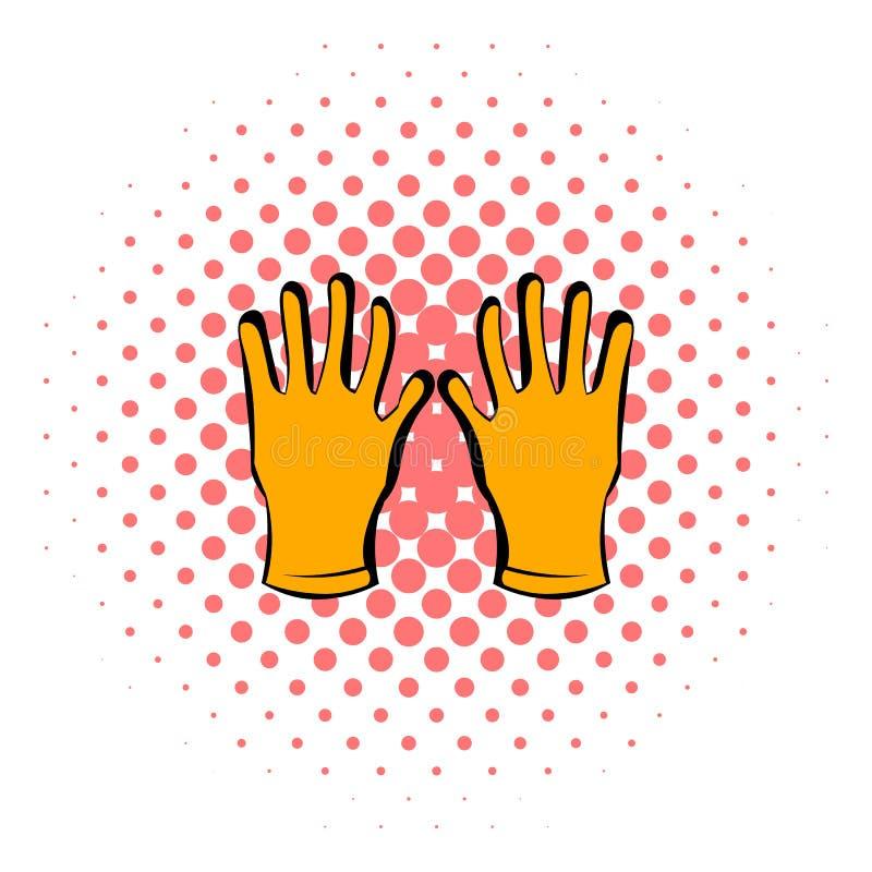 Gloves of beekeeper icon, comics style vector illustration
