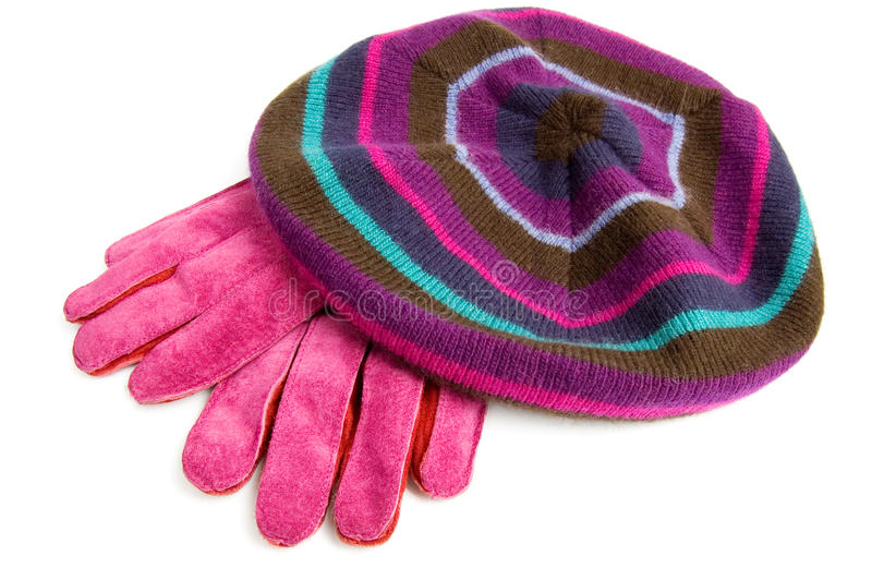 Gloves and beret isolated on white stock photo