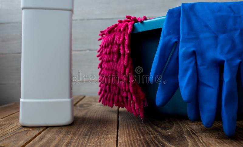 A gloves for cleaning wash cloth rag cleanser stock photo