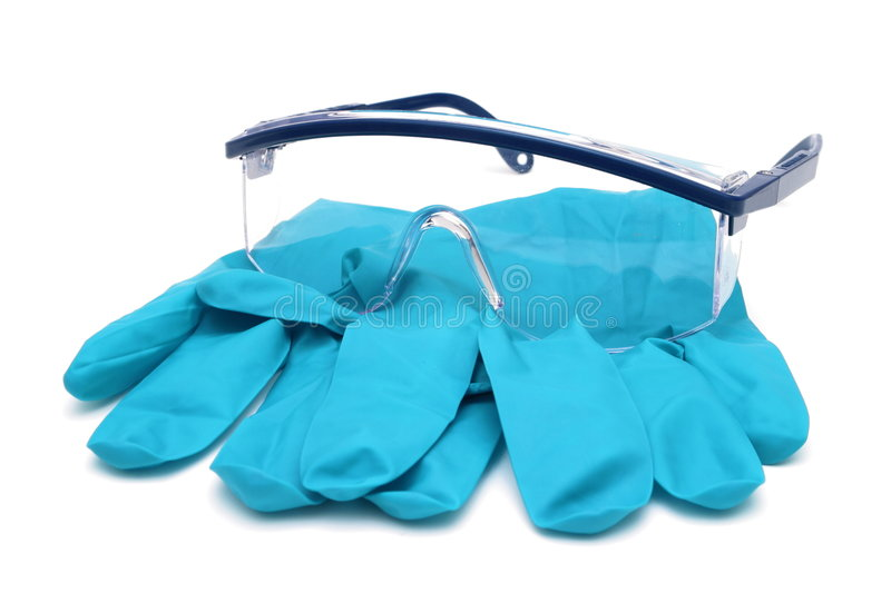 Gloves and Glasses stock images