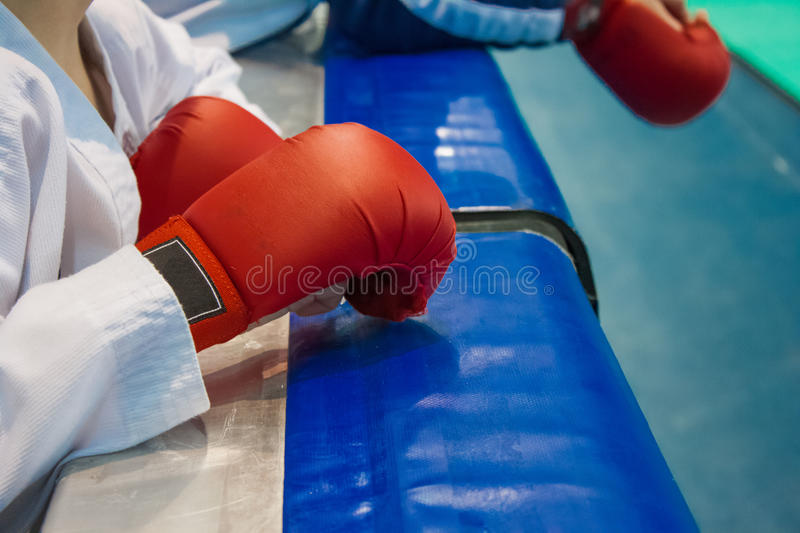 Gloves on his hands for Karate. Teen with gloves on his hands for Karate stock images