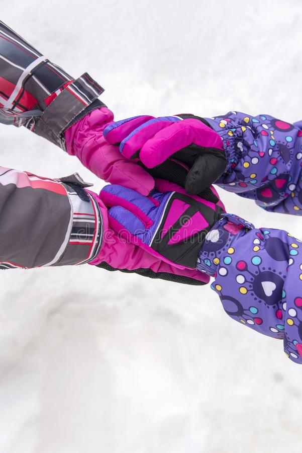 Gloves in the snow royalty free stock image