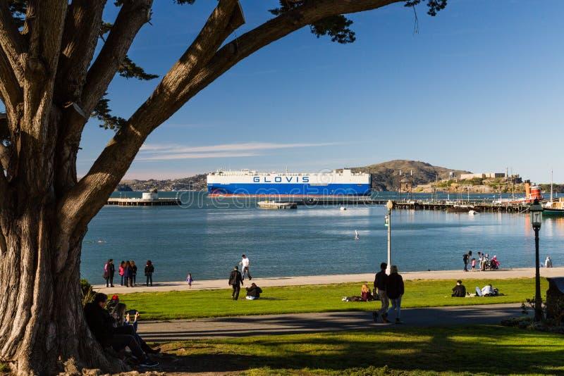 Glovis auto przewieziony statek w San Francisco, Kalifornia CR2 fotografia stock