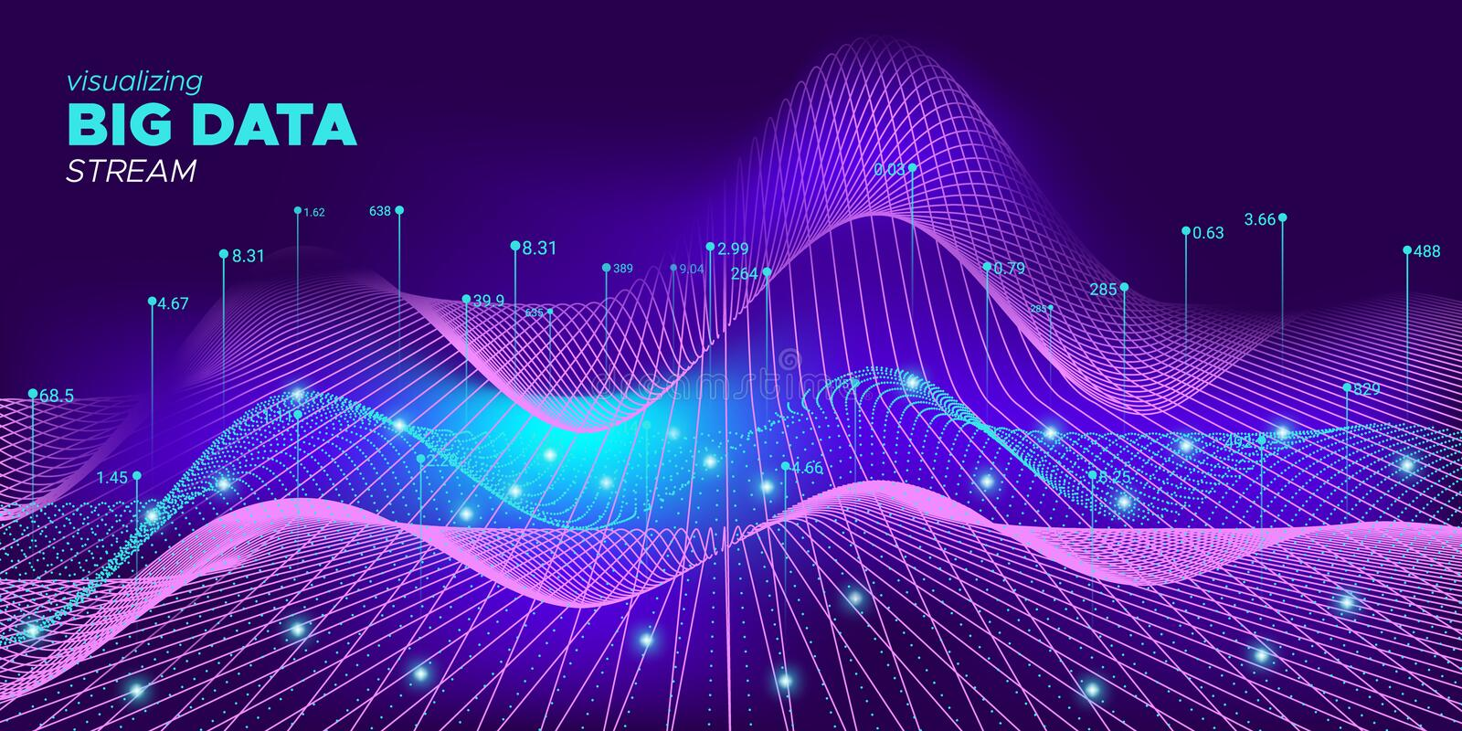 Glow Big Data Screen. Violet Particle Matrix. Background. Dynamic Technology Concept. Neon Future Big Data Trade. Particle Complexity Abstract. Future Bigdata vector illustration