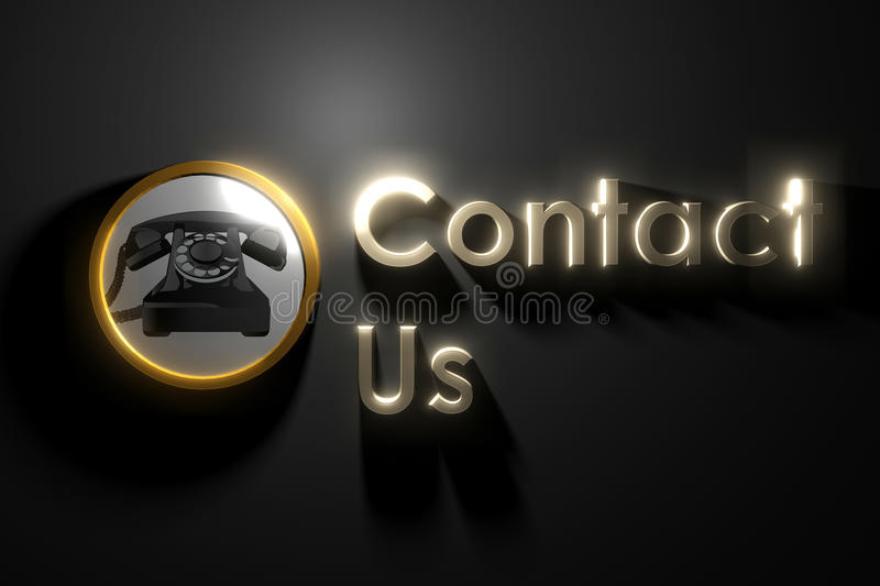 Glow contact us. On wall vector illustration