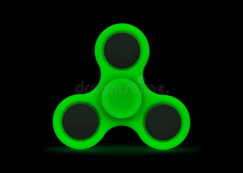 Glow in the dark. Green fidget spinner isolated on white background. Stress relieving toy.  Clipping paths or cut out object for. Glow in the dark. Green fidget stock photos