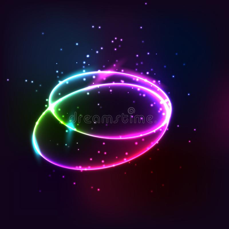 Glow effect. Ribbon glint. Abstract rotational border lines. Power energy. LED glare tape. Luminous shining neon lights stock illustration
