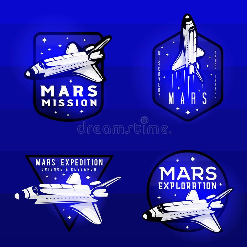 Glow effect on space mission to mars logotypes royalty free illustration