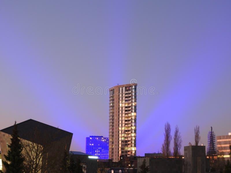 Glow light festival Eindhoven, blue skyline, sunset stock photos