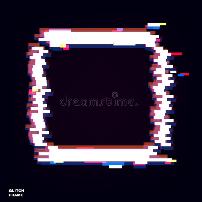 Glow glitch frame. Distortion effects for advertising.  stock illustration