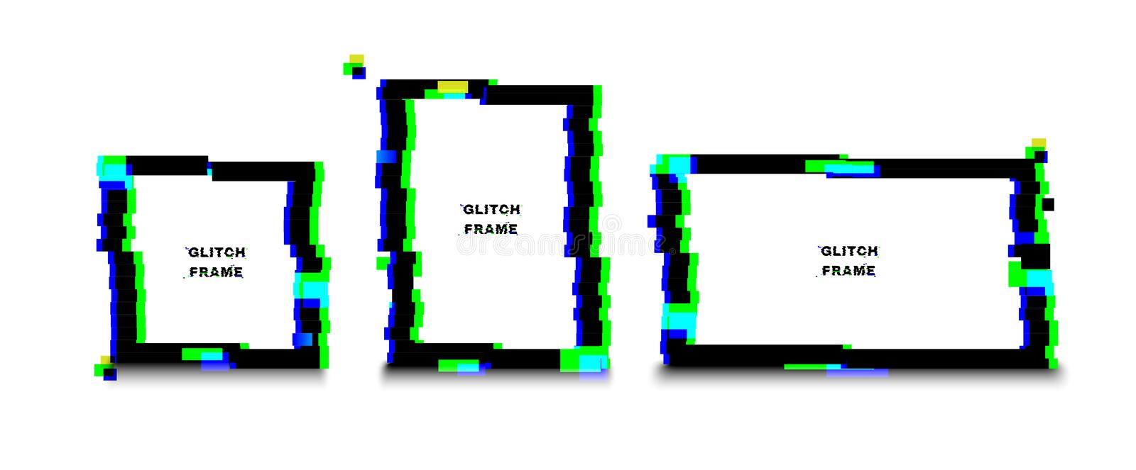 Glow glitch frame. Distortion effects for advertising.  royalty free illustration