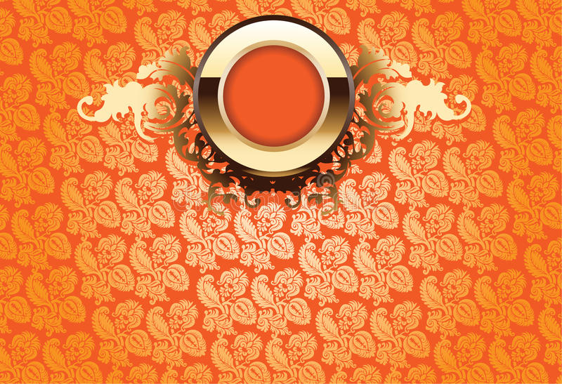 Download Glow Gold Ornate Over Orange Wallpaper Stock Illustration - Image: 15604301
