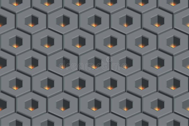 Glow hollow hexagon abstract geometric seamless honeycomb pattern vector illustration royalty free illustration