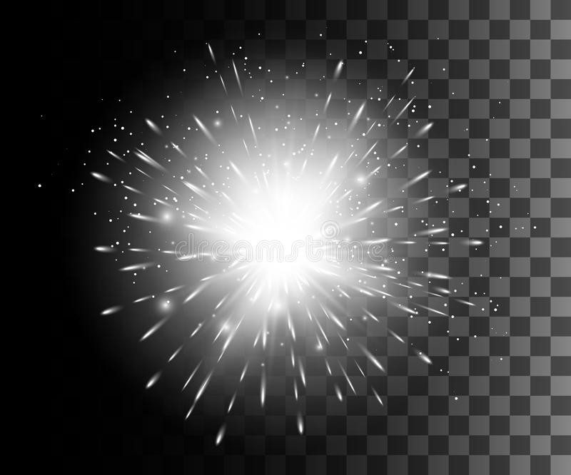 Glow isolated white transparent effect, lens flare, explosion, glitter, line, sun flash, spark and stars. For illustration templat vector illustration