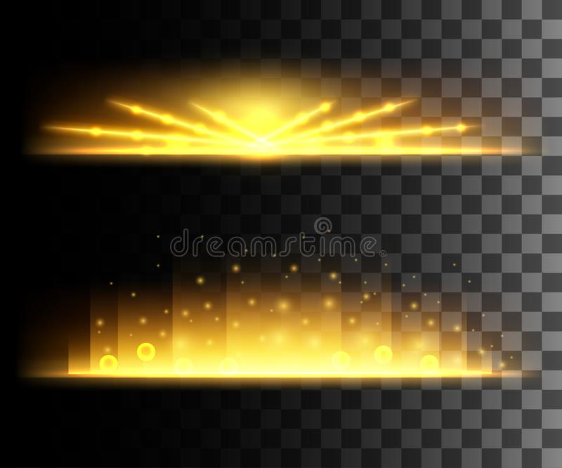 Glow isolated white transparent effect, lens flare, explosion, glitter, line, sun flash, spark and stars. For illustration templat stock illustration