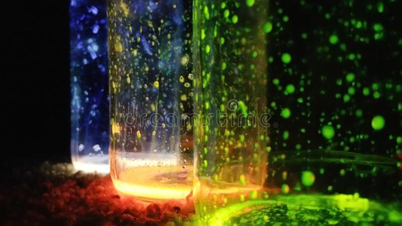 Glow Jars. Jars that glow with different colors royalty free stock photo