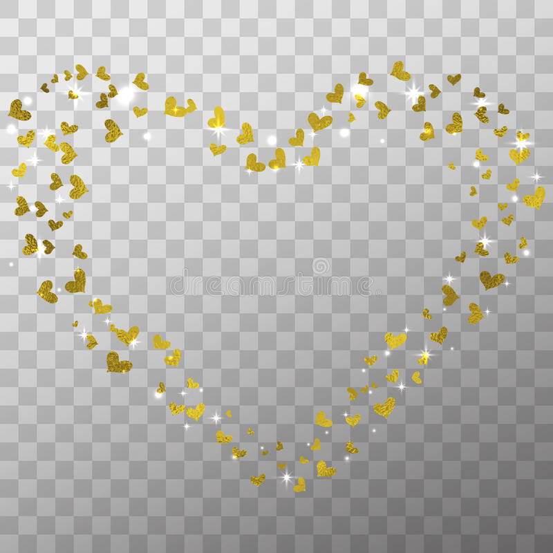 Glow light effect and golden foil hearts isolated on the transparent background for Valentines day photo overlays and decoration. stock illustration