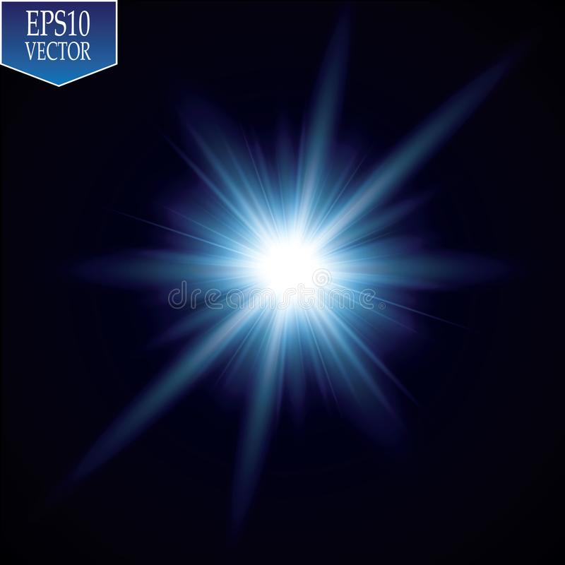 Glow light effect. Starburst with sparkles on transparent background. Vector illustration. Sun royalty free illustration