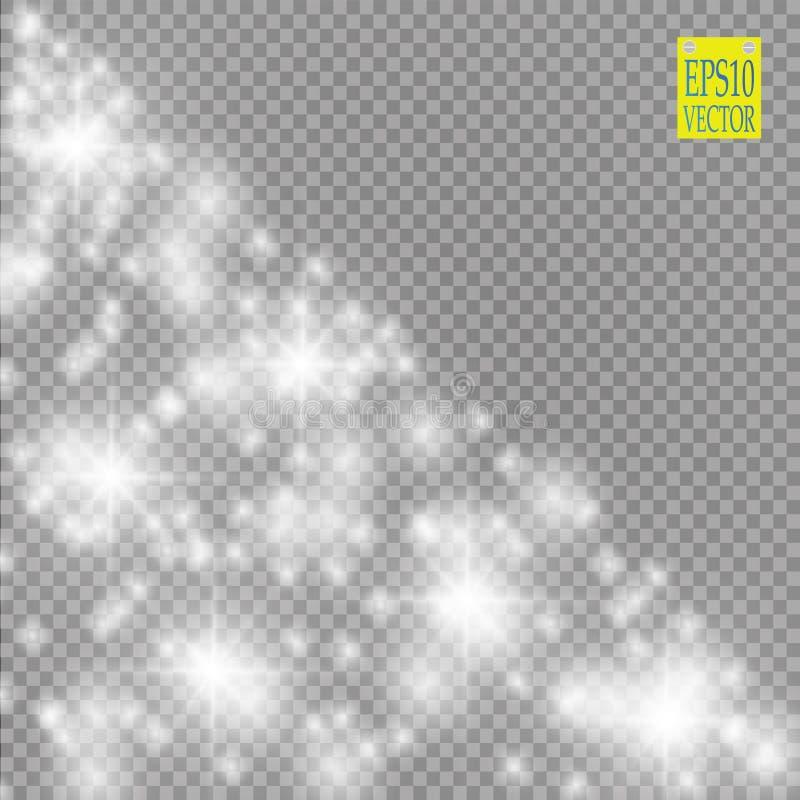 Glow light effect. Vector illustration. Christmas flash Concept. royalty free illustration