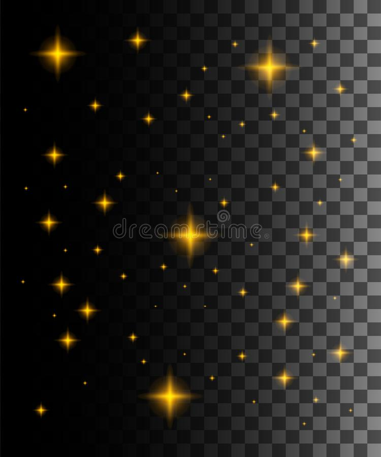 Glow light effect. Vector illustration. Golden star dust trail sparkling particles isolated on transparent background. Abstract. Stars in space royalty free illustration