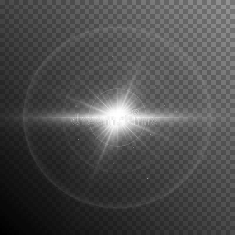 Glow light lens flare special effect. Shiny starburst with sparkles. Transparent sun flash with spotlight and rays stock illustration